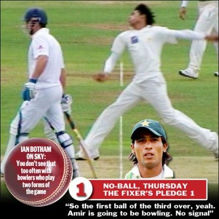Mohammed Amir purposefully bowls a no-ball to fix a test match